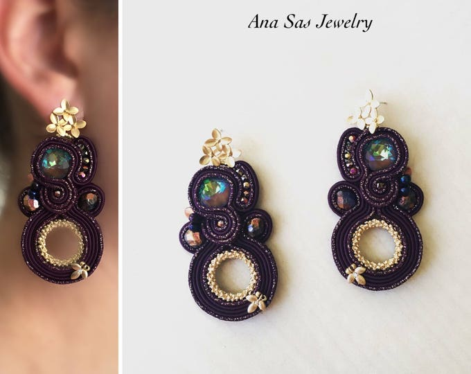 Purple Swarovski Soutache Earrings