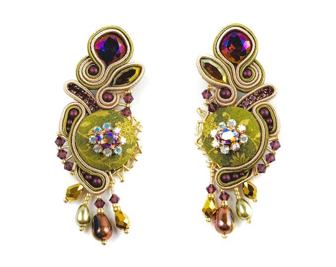 Statement soutache earrings, swarovski crystals