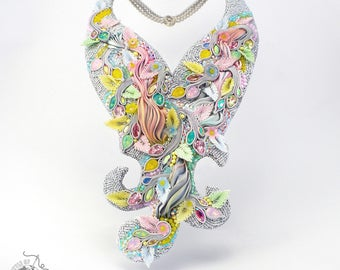Statement Swarovski crystals, shibori silk and soutache necklace  -BOTB 2016 Competition