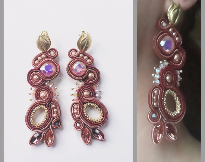 Statement Swarovski crystals Soutache Earrings with gold leaves details in pink and marsala colors