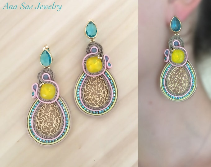 Statement Swarovski crystals earrings, yellow and blue zircon stones, pink soutache details