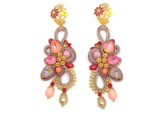 Statement Swarovski crystals earrings and enameled flowers detailes PRE-ORDER