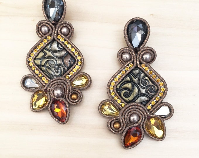 Statement gray, cooper  soutache earrings, handmade cabochon, crystal stones