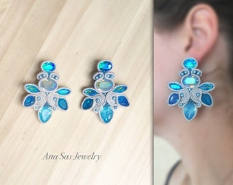 Blue soutache earrings, resin and crystal cabochon, wool gray soutache, Swarovski pearls