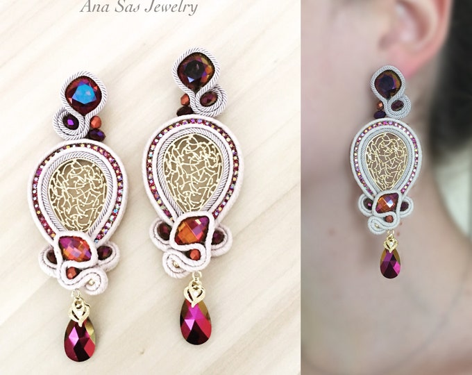Swarovski soutache earrings, purple crystals, gold plated elements