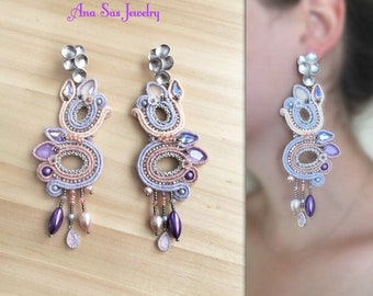 Soutache earrings, Swarovski crystals and rhodium plated elements