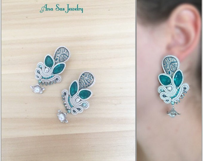 Statement green and silver soutache earrings with rhodium plated flower detail