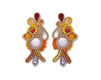 Miro Statement earrings, Swarovski crystals, resin elements PRE-ORDER