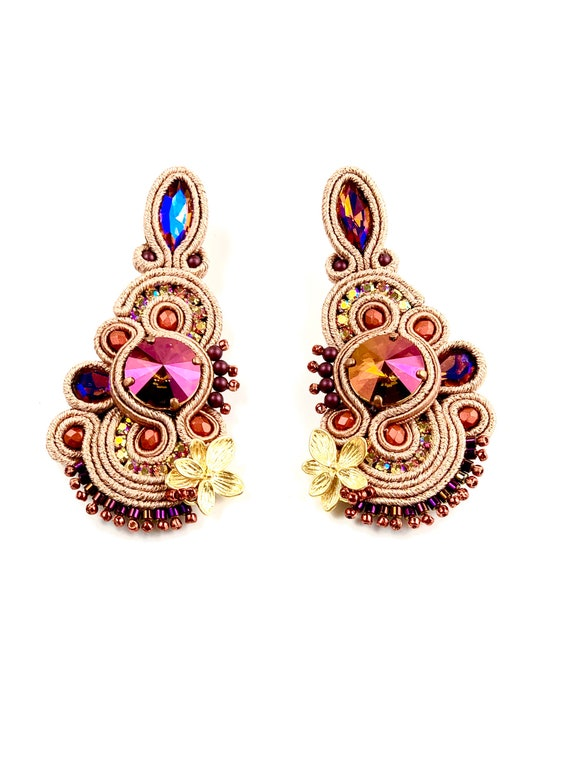 Swarovski soutache earrings, purple crystals, gold plated elements