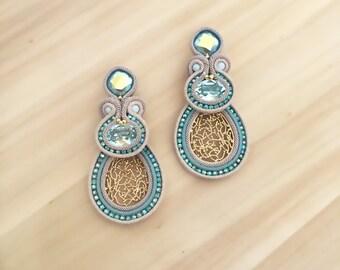 Light blue Swarovski soutache earrings, gold plated elements