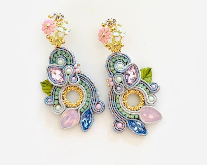 Statement enameled flowers and Swarovski earrings PRE ORDER