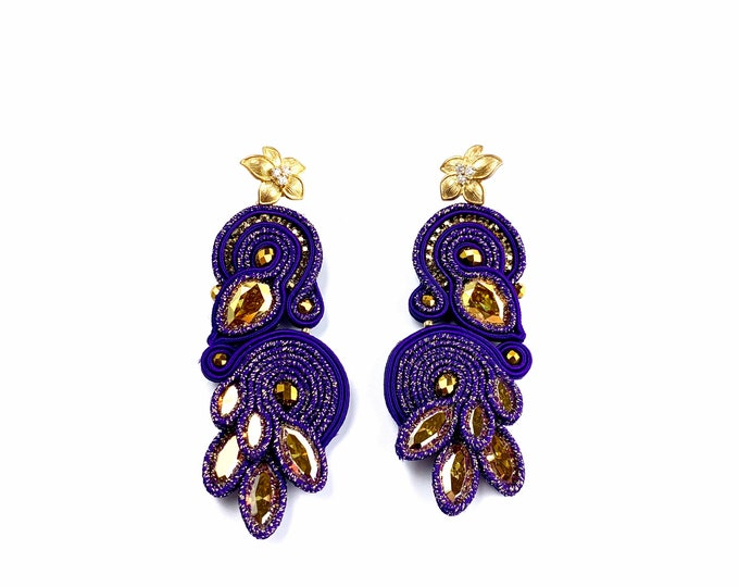 Purple Statement Earrings- Swarovski Crystals and gold plated flower PRE ORDER