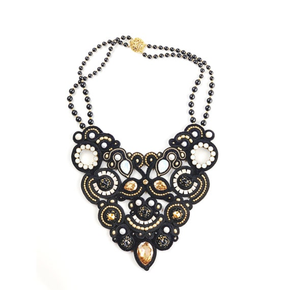 Statement Black and Gold Soutache Necklace from Swarovski Crystals and pearls