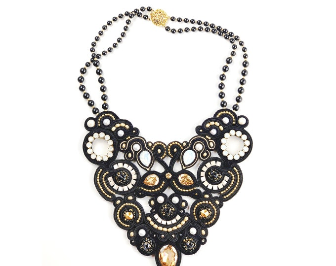 Statement Black and Gold Soutache Necklace from Swarovski Crystals and pearls PRE ORDER