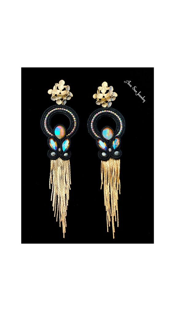 Black and gold soutache earrings, Swarovski crystals, gold plated elements