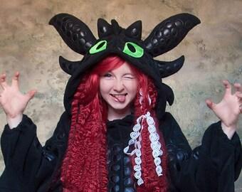 Custom Black dragon kigurumi (adult onesie, pajama)