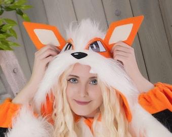 IN STOCK, ready to ship! For 170-175 cm height, w/pockets and zipper. Custom Orange wolf kigurumi (adult onesie, pajama)