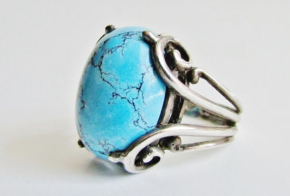 Southwestern Sterling Spiderweb Turquoise Ring