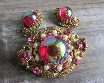 Vintage West Germany Iridescent Filigree Rhinestone Brooch and Earring Set