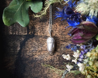 Sterling silver acorn necklace - silver botanical jewellery, handmade nature pendant