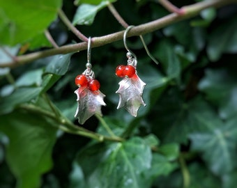 Sterling silver holly leaf earrings with red carnelian berries, dangle earrings, christmas gift for her