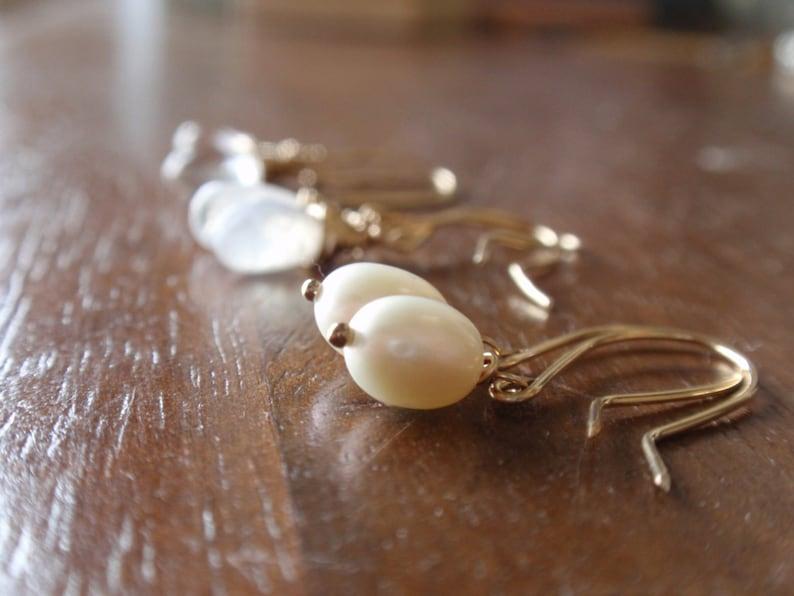 gold filled earrings Simple gold pearl earrings ideal bridal earrings or bridesmaid gift
