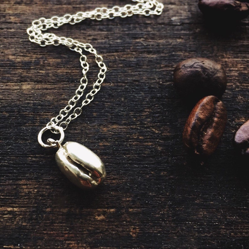 c8eee79afd5a0 Coffee bean sterling silver necklace coffee bean pendant   Etsy