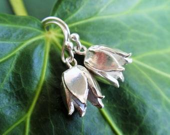 Sterling silver flower earrings, sterling silver dangle earrings, christmas gift for her - sterling silver earrings