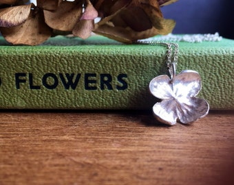Sterling silver flower necklace, sterling silver hydrangea necklace, nature jewellery, hortensia floral jewellery
