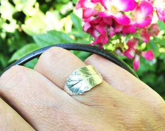Sterling silver leaf ring, sterling leaf ring silver, silver statement ring, nature jewellery botanical jewellery