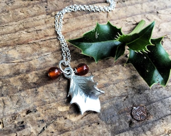 Sterling silver holly leaf necklace with red carnelian berries, Christmas necklace, Christmas gift