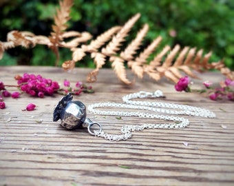 Sterling Silver Poppy Seed Head Necklace