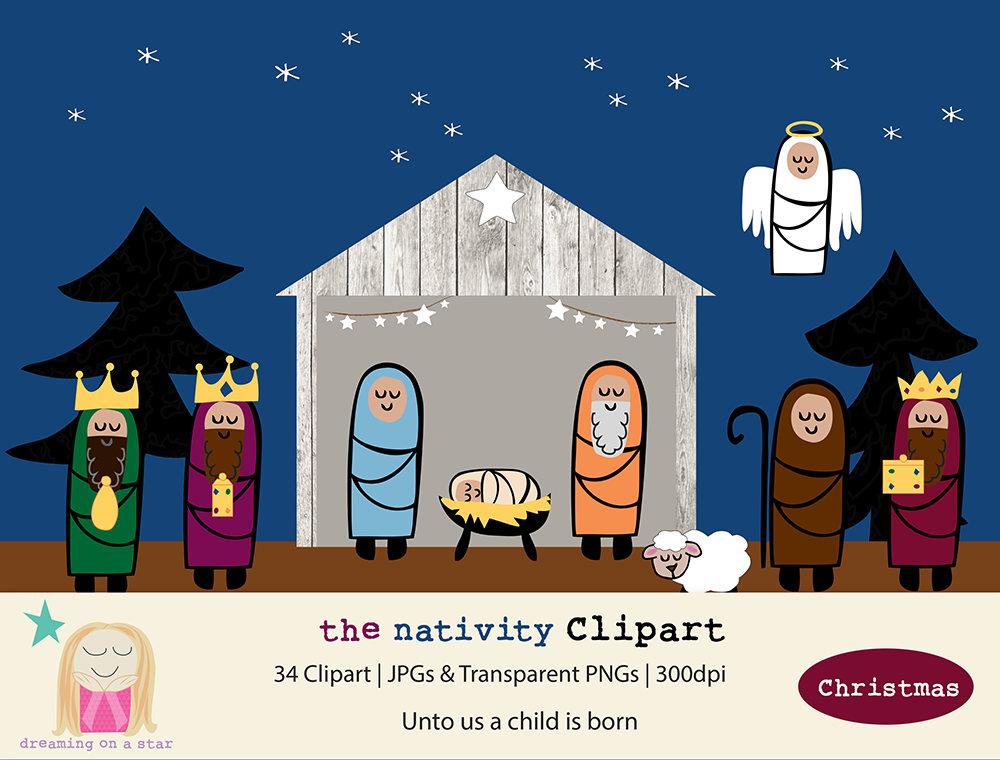 Krippe-Clip-Art Weihnachten Digital Krippe Clipart Jesus | Etsy