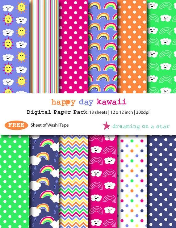 Kawaii Digital Scrapbook Paper Kawaii Scrapbook Cute Etsy