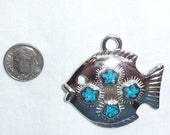 Vintage Trifari Large Silver Genuine Turquoise Southwest Fish Pendant for Necklace Inlaid Mosaic Flowers Estate New Old Stock NOS Marked