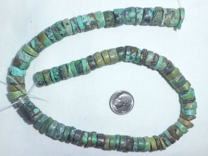 16 Genuine Turquoise Rondelle Disc Beads Full Strand 10 mm Heishi for Necklace Bracelet Green 10mm Southwest Flat Round Bead String Spacer