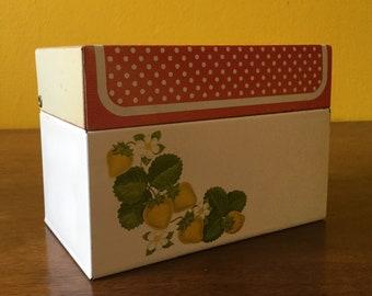 Vintage FlowerTin Recipe Box Red Strawberry