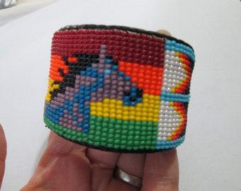 purple turquoise diamond aztec geometric southwest design bag pouch coin pouch stash glass hand beaded design Guatemala seed bead fair trade