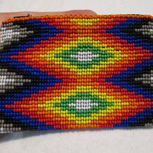 white red black gold flower geometric aztec geometric southwest design bag pouch coin purse pouch stash glass hand beaded design seed bead
