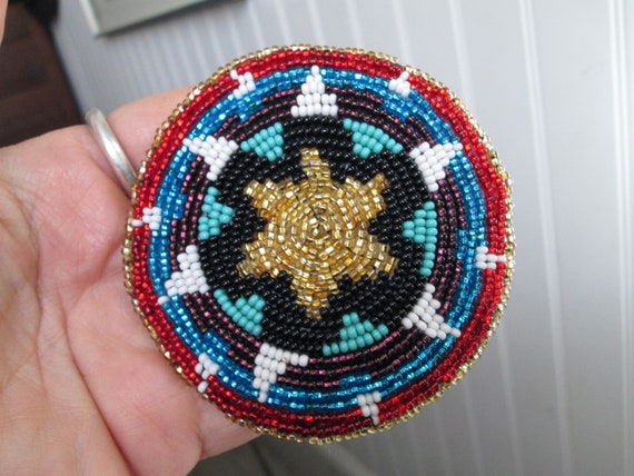 medallion disc discs green periwinkle blue purple black gold stars regalia hair clip barrette beaded native american guatemala mayan regalia