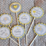 Personalized Grey and Yellow Cupcake Toppers:  Elephant Theme, Perfect for Baby Showers and Birthdays - set of 12