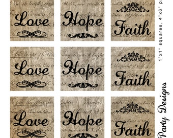 """1"""" x 1"""" Square Tiles:  LOVE, HOPE, FAITH On Vintage Papers - 10 tiles per page, Printable Digital Download"""