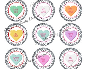 "1"" Bottle Cap Valentine Conversation Hearts!  Printable Digital Download - 10 Bottle Cap Images per 4x6 sheet"