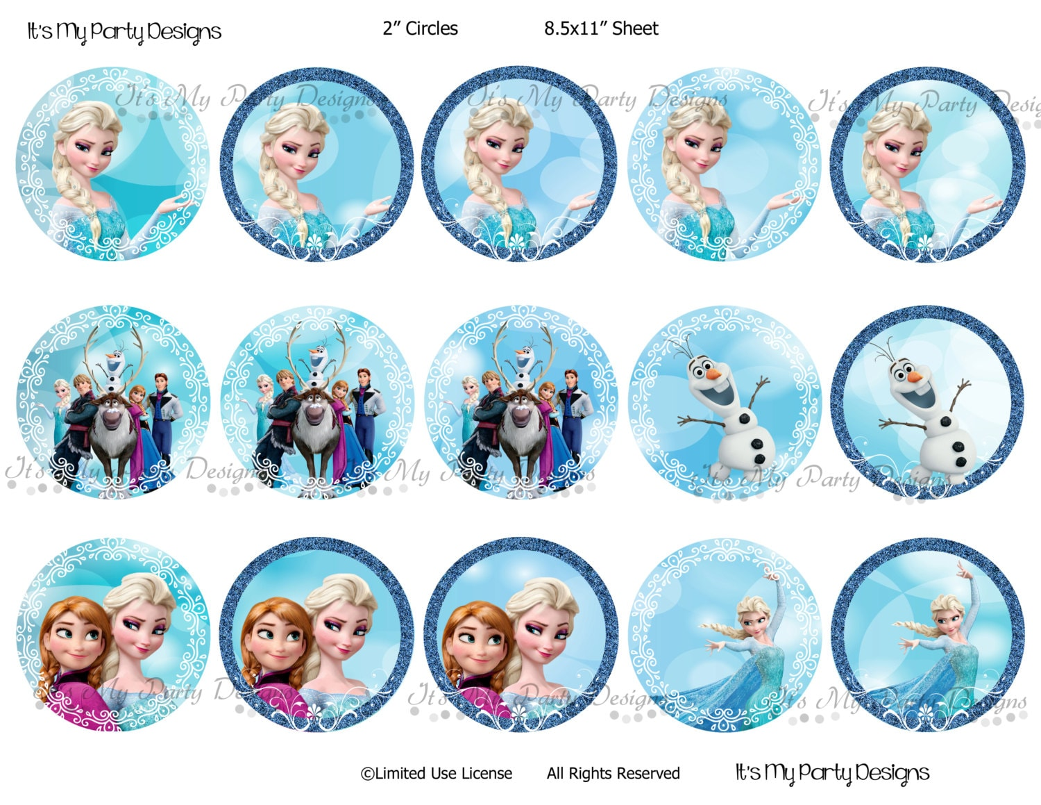 Printable Frozen Cupcake Toppers 2 Round Digital Etsy
