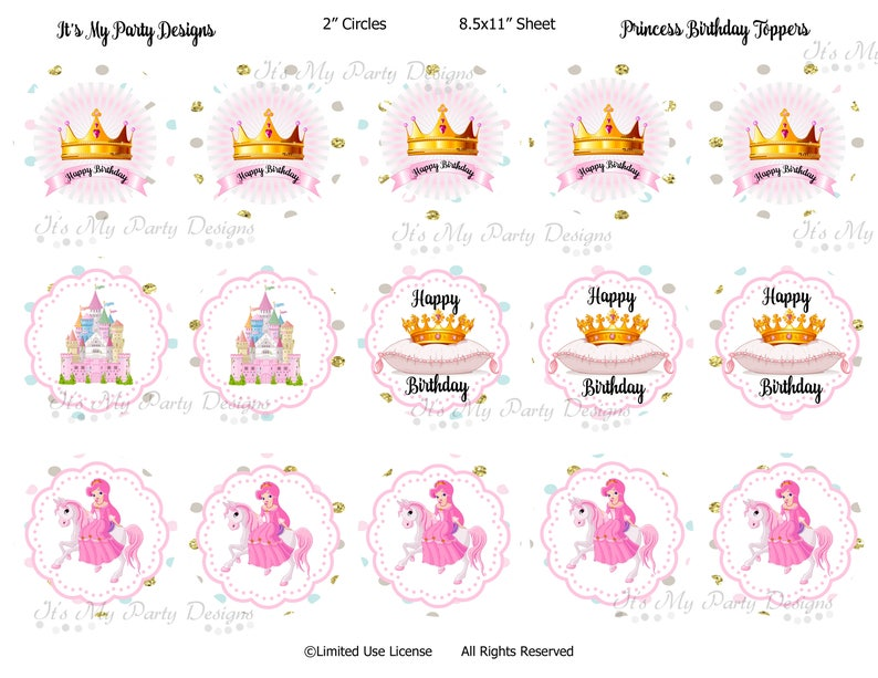 Happy Birthday Princess Digital Download 2 Cupcake