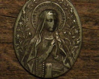 Antique religious silvered medal pendant  i am the immaculate conceptio -Lourdes