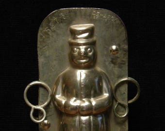 Antique Christmas  two part chocolate mold of a sweet snowman