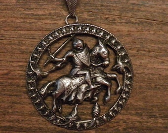 French vintage silver plated religious medal pendant : Saint Joan of Arc on horse and armor.1.64""