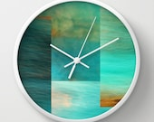 """Wall Clock - Fantasy Oceans Collage - 10"""" - Photography Photo Art blue turquoise art modern white black natural abstract orange"""