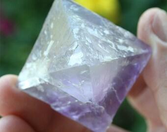 """purple fluorite octahedron, large 2"""" Illinois fluorite crystal, meditation stone, natural fluorite healing crystal, USA collector stone"""